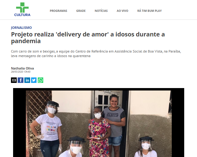 O carinho que chegou na casa de todo o Brasil: Projeto do CRAS Boa Vista é notícia no site da Tv Cultura