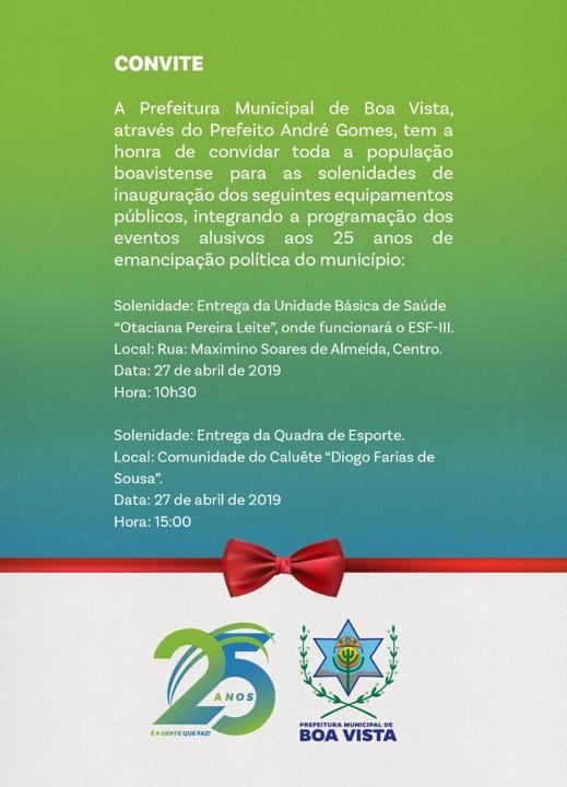 O Prefeito de Boa Vista, André Gomes (PDT), programou para realizar a entrega de diversas obras e novos anúncios durante