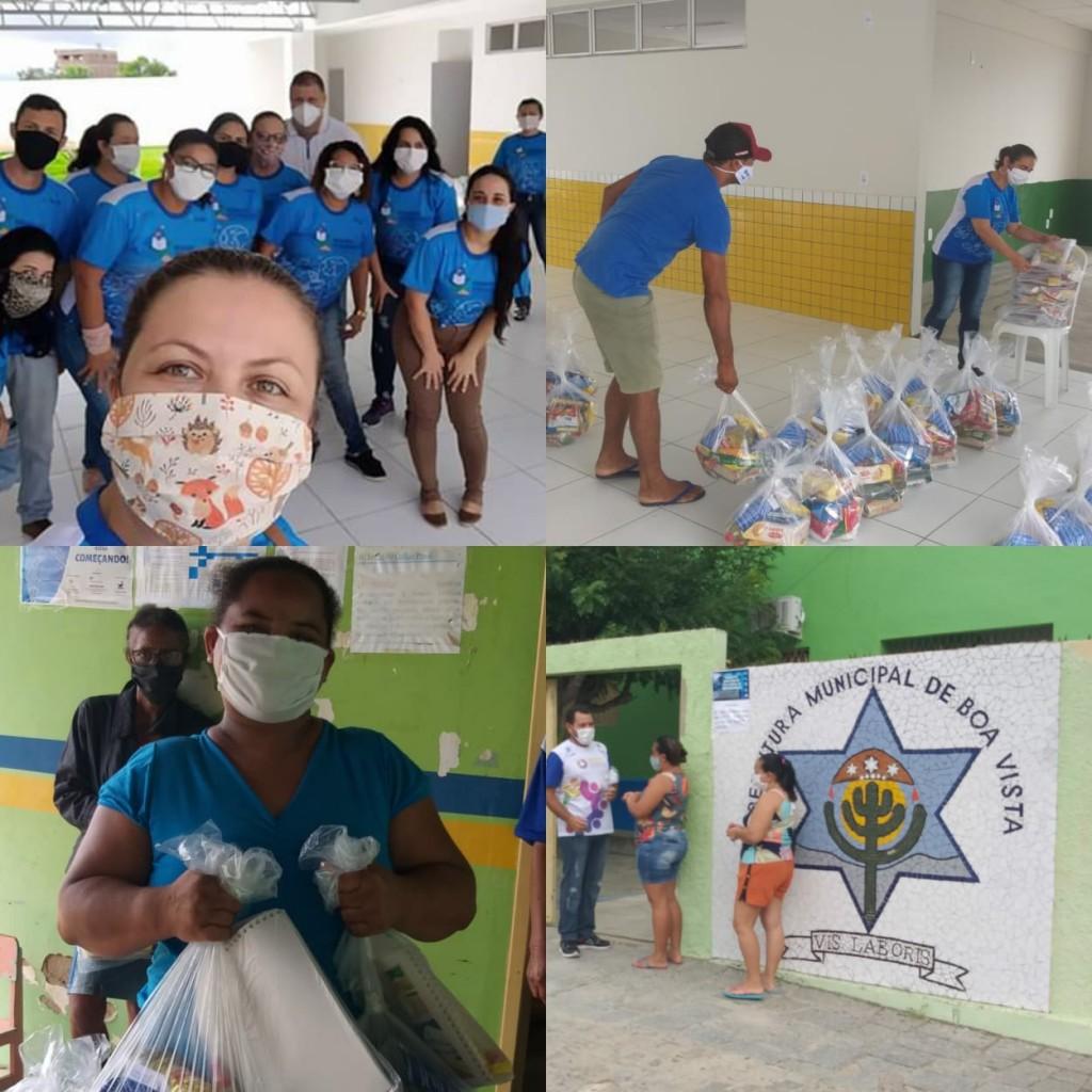 Kits de alimentos estão sendo distribuídos para alunos da rede municipal de ensino em Boa Vista