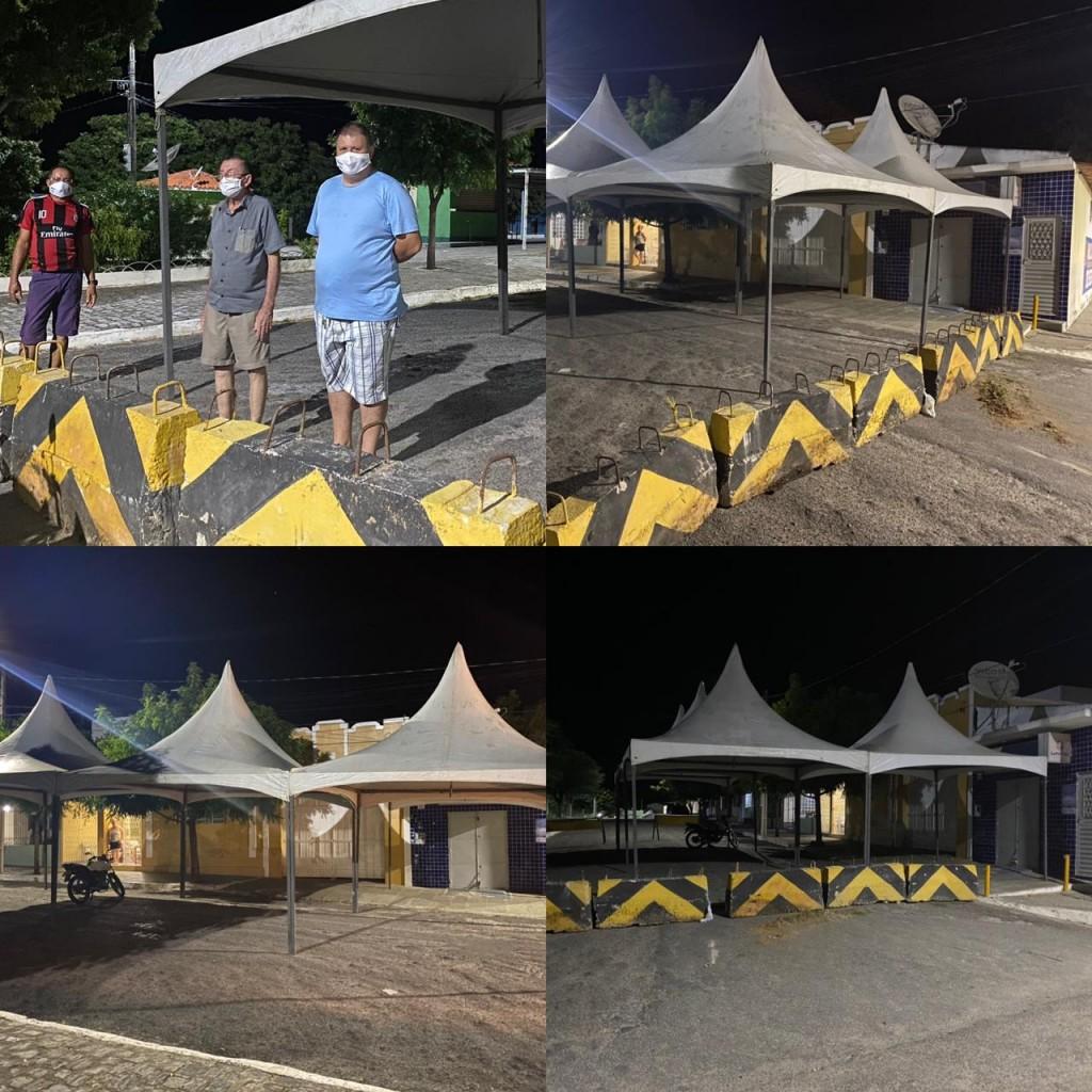 Prefeitura de Boa Vista instala estrutura com tendas e cadeiras em frente à casa lotérica municipal
